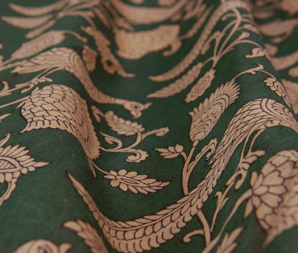 Green Silk Cotton Saree with Peacock prints (3) closeup