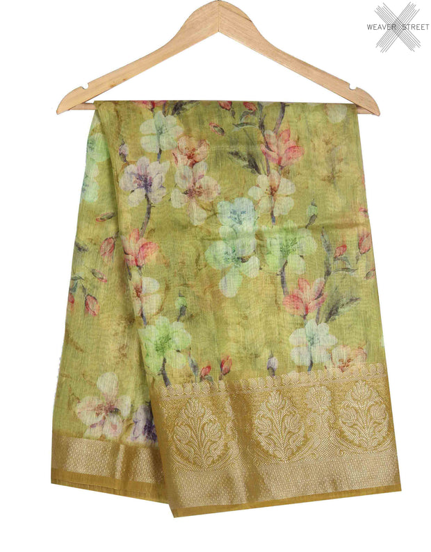Green Silk Linen Banarasi saree with Floral prints (1) main
