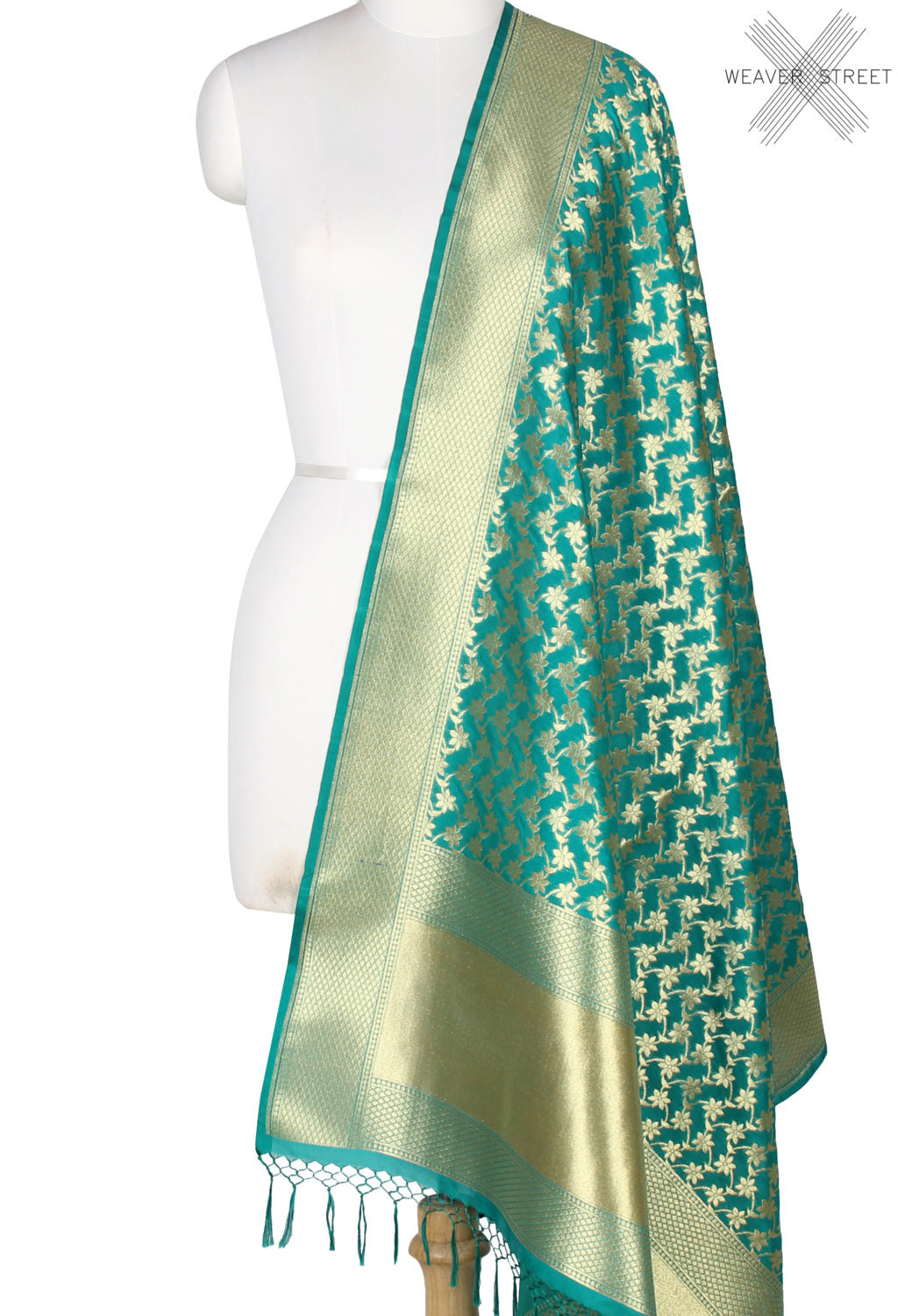 Green art silk Banarasi dupatta with delicate flower jaal (1) Main