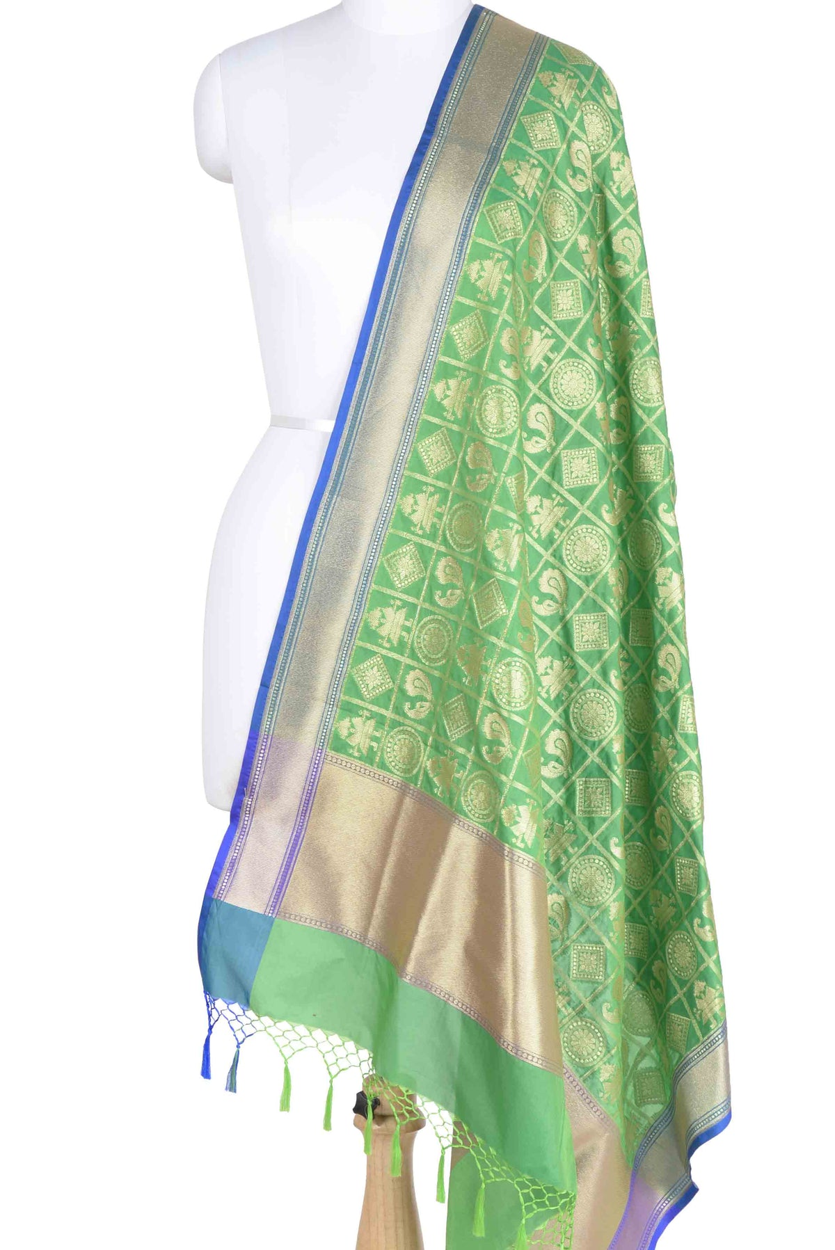 Green dupatta with figures in grid pattern (1) main