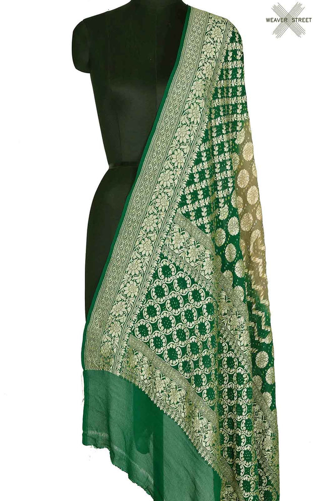 Green grey khaddi georgette Bandhani Banarasi dupatta with intricate jaal (1) Main