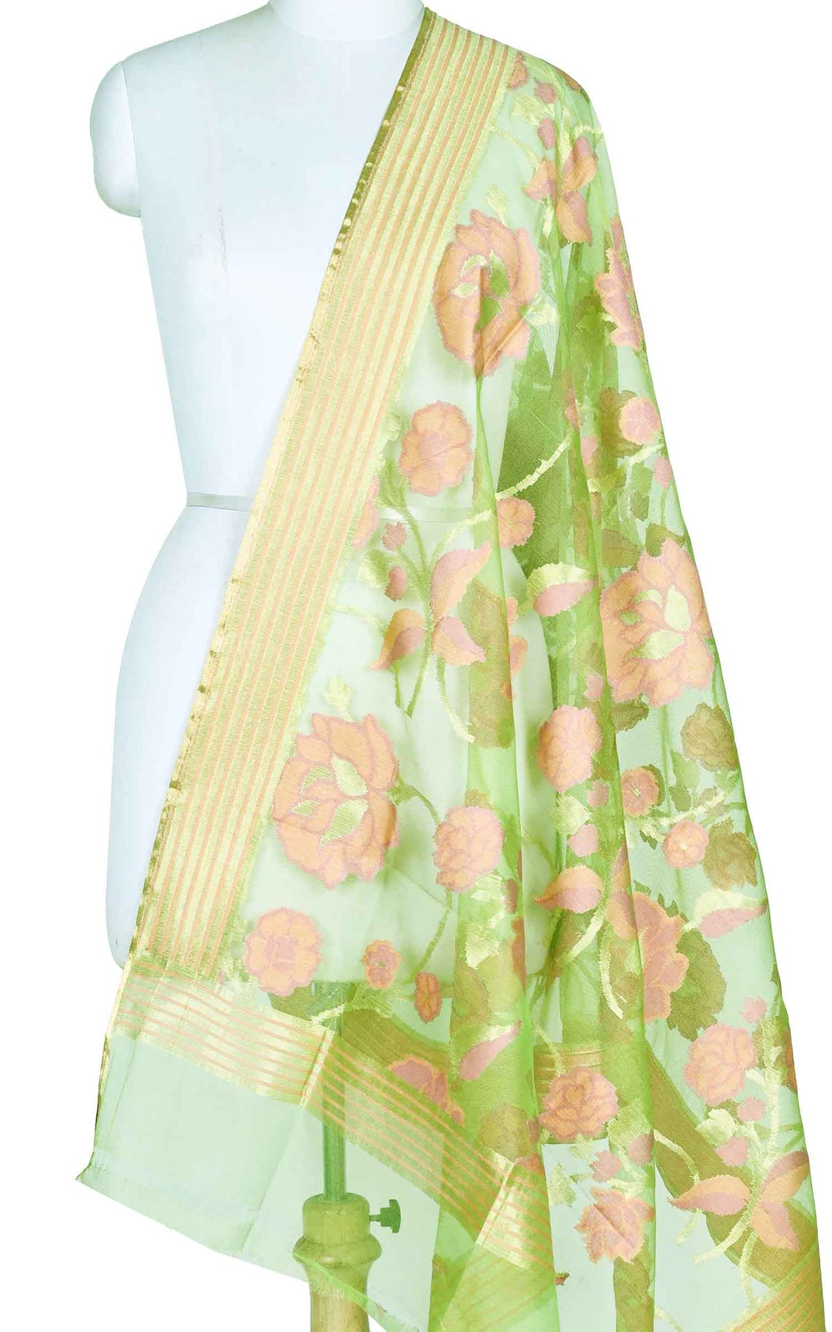 Green kora silk Banarasi dupatta with meenedar flower jaal (1) Main