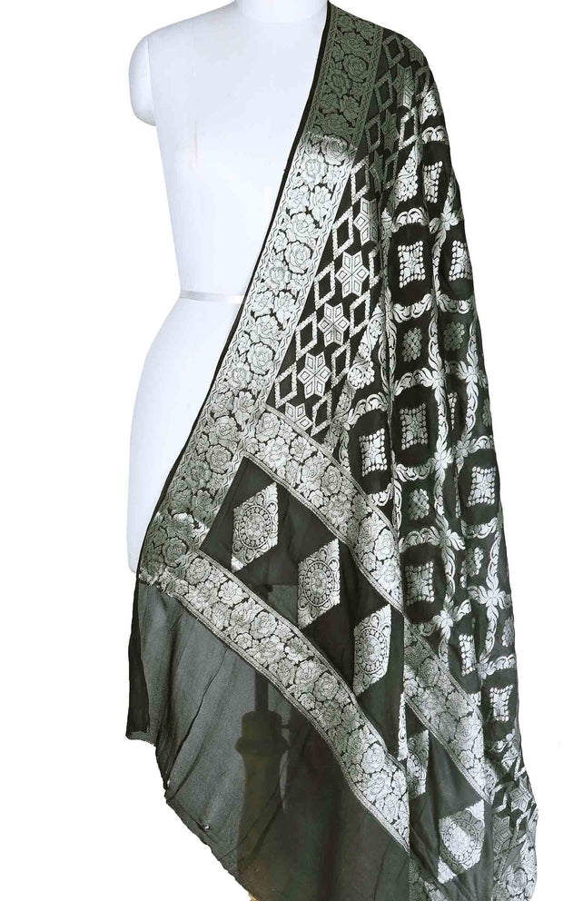Grey Black shaded khaddi georgette Banarasi dupatta with geometrical jaal (1) Main
