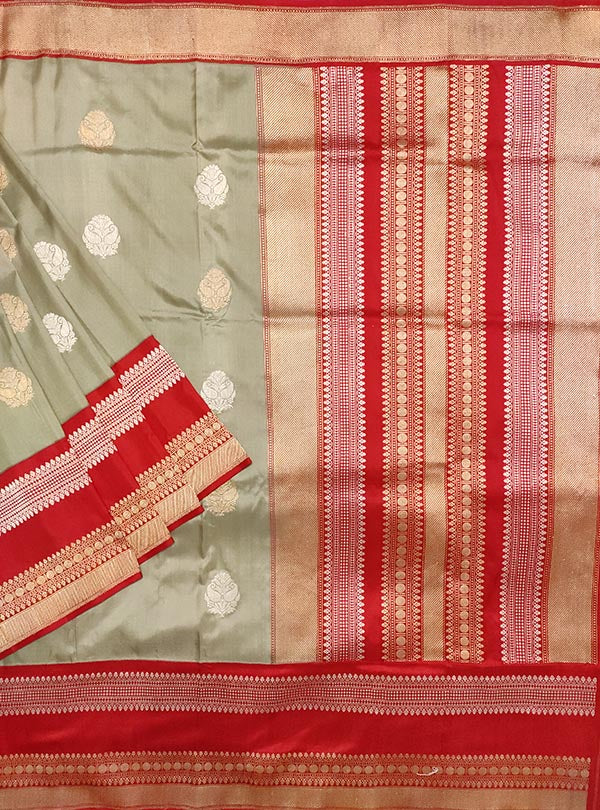 Grey Katan silk Banarasi saree with sona rupa boota (1) main