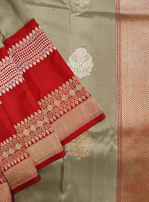 Grey Katan silk Banarasi saree with sona rupa boota (2) close up