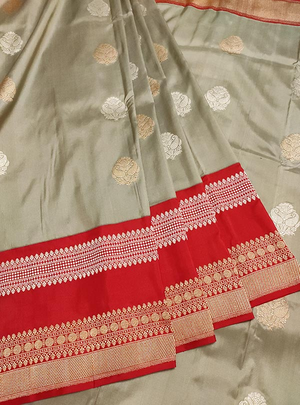 Grey Katan silk Banarasi saree with sona rupa boota (3) center