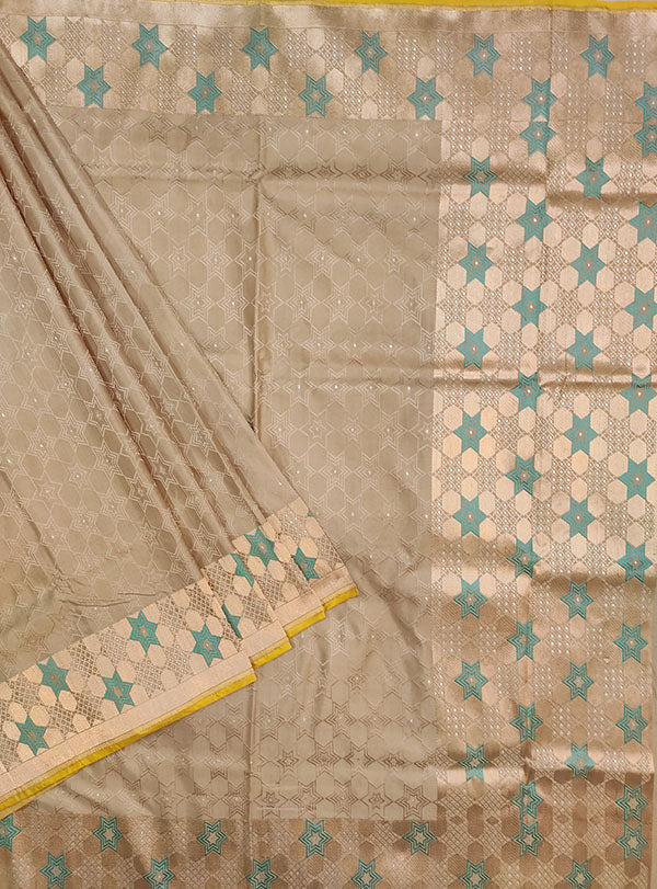 Grey Katan silk handloom tanchoi Banarasi saree with star design (1) main