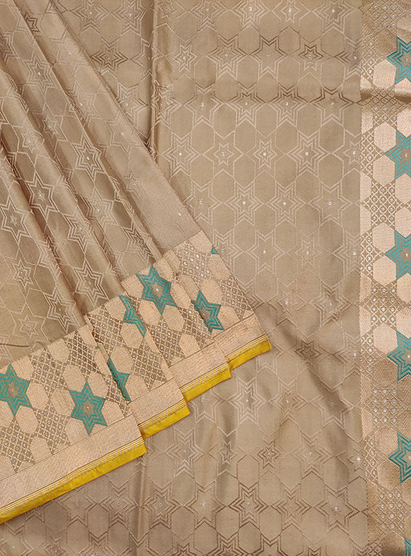 Grey Katan silk handloom tanchoi Banarasi saree with star design (2) close up