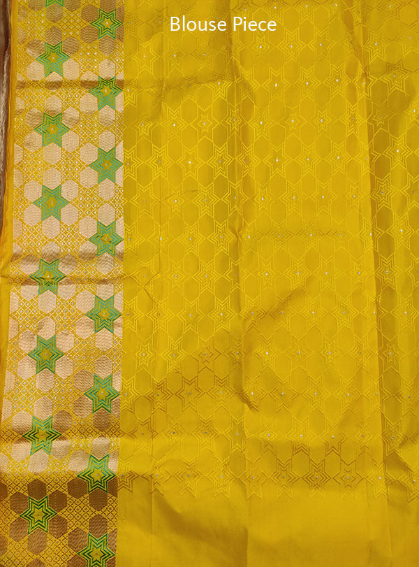 Grey Katan silk handloom tanchoi Banarasi saree with star design (5) Blouse