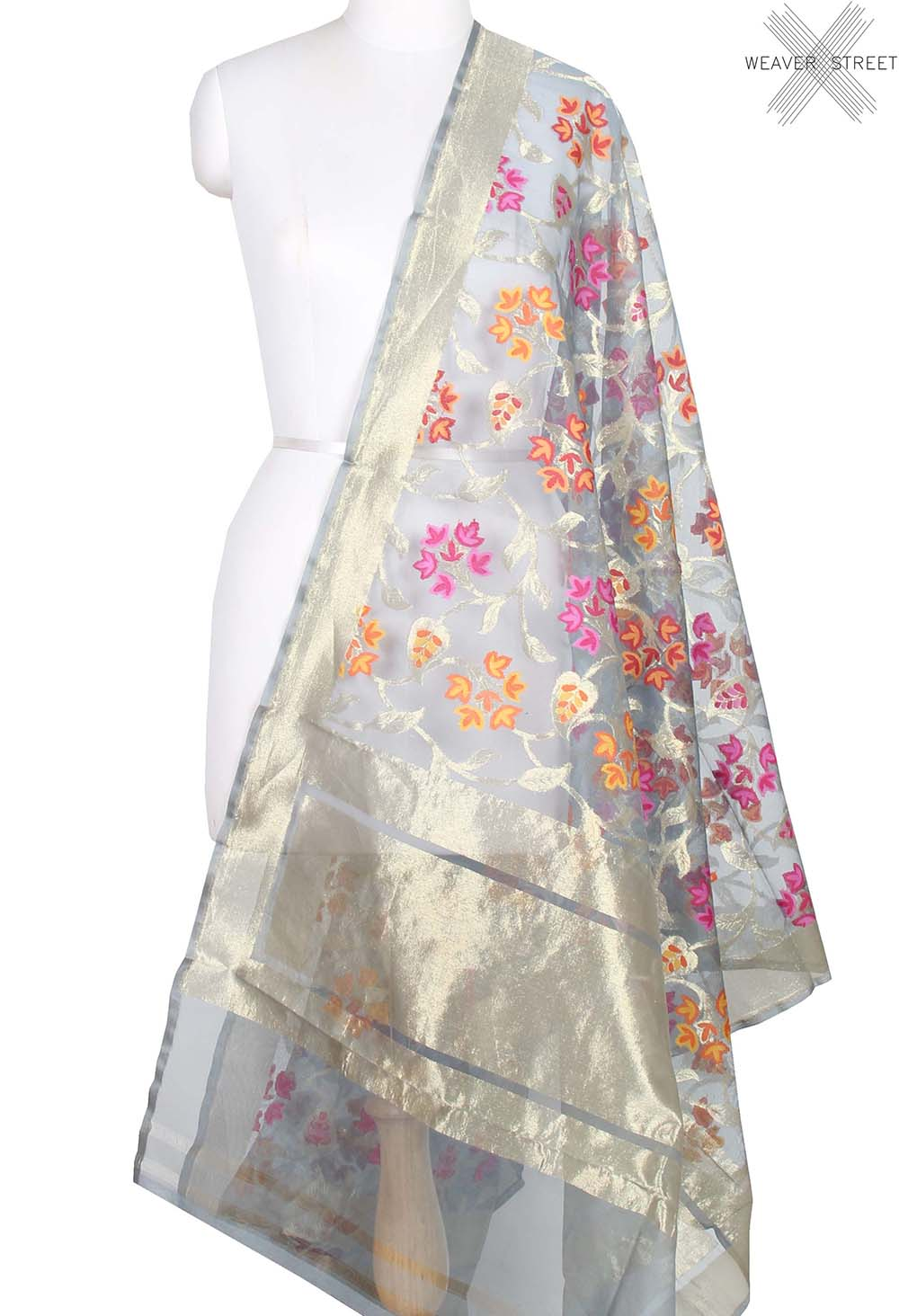 Grey kora silk Banarasi dupatta with multi color flower jaal (1) main
