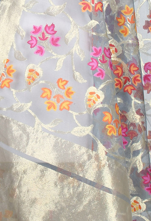 Grey kora silk Banarasi dupatta with multi color flower jaal (2) closeup