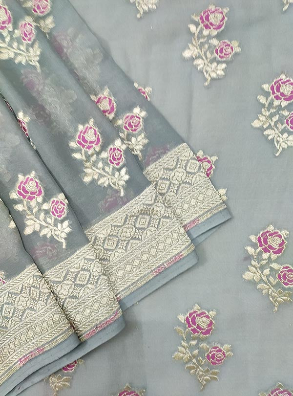 Grey khaddi georgette Banarasi saree with meenedar rose flower boota (2) close up