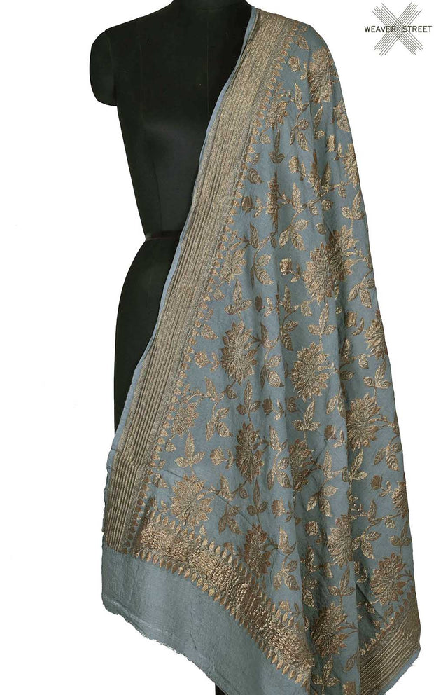 Grey muga silk Banarasi dupatta with antique floral jaal (1) Main