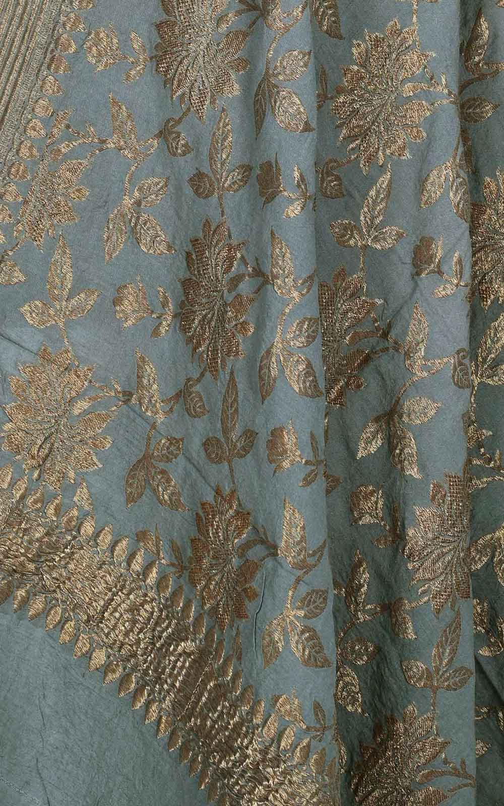 Grey muga silk Banarasi dupatta with antique floral jaal (2) Close up