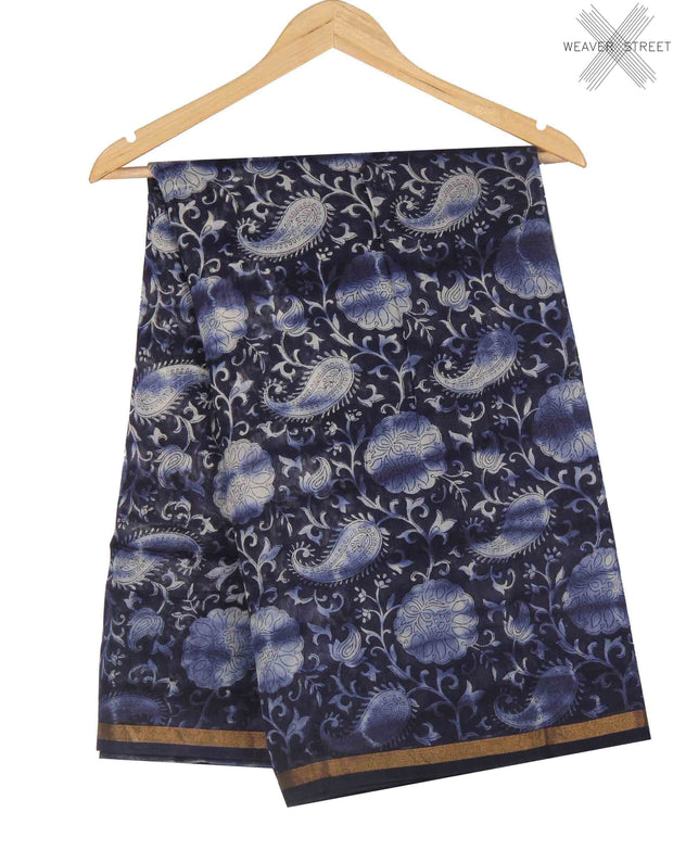 Indigo Silk Cotton Saree with Paisley prints (1) main