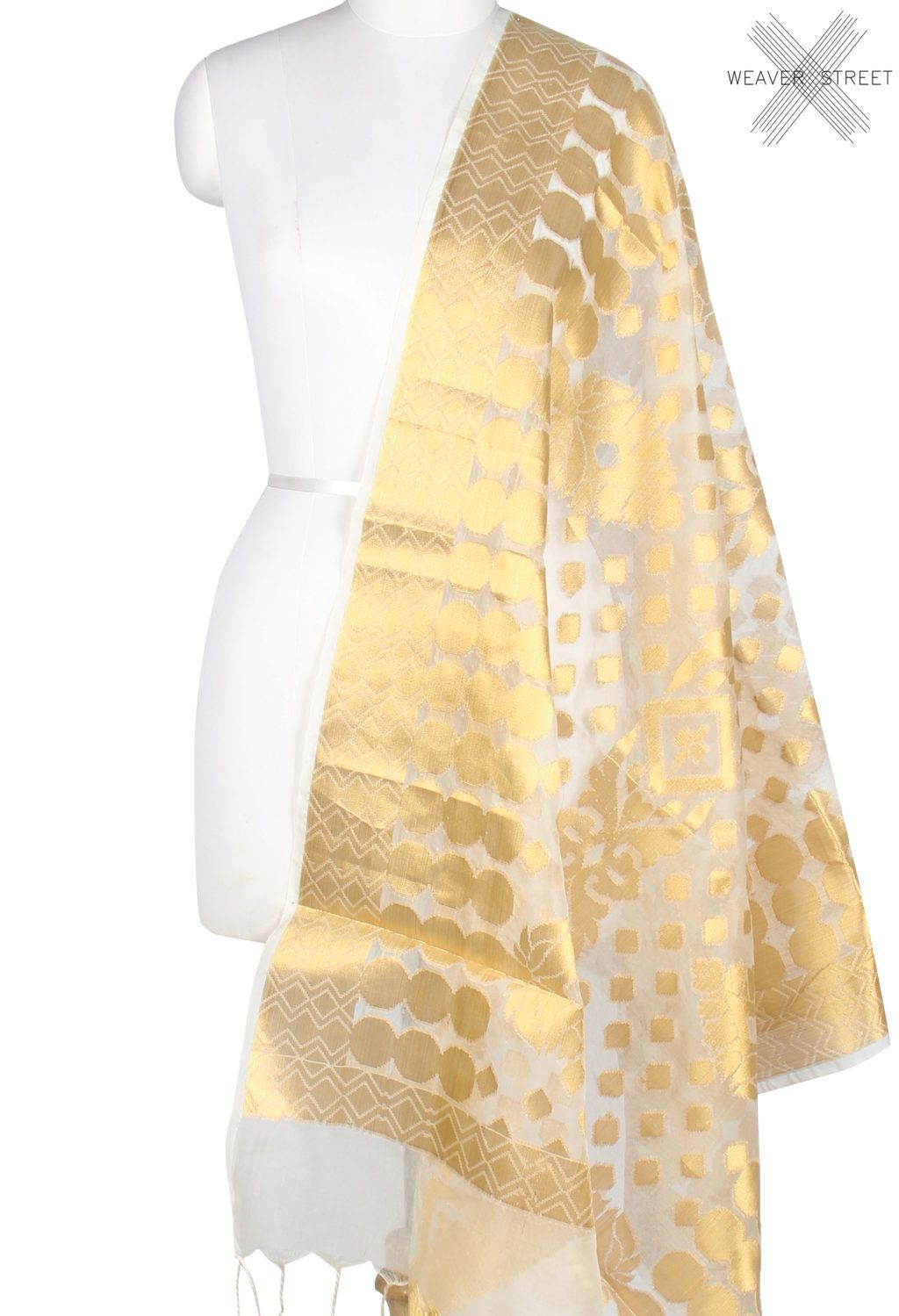 Kora art silk Banarasi dupatta with geometrical shape motifs and jaal (1) Main