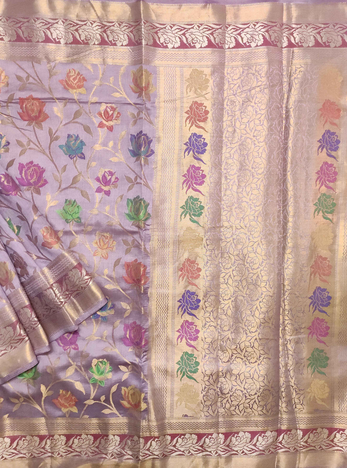 Lavender Muga chiniya silk Banarasi saree with meenedar rose flower jaal (1) Main