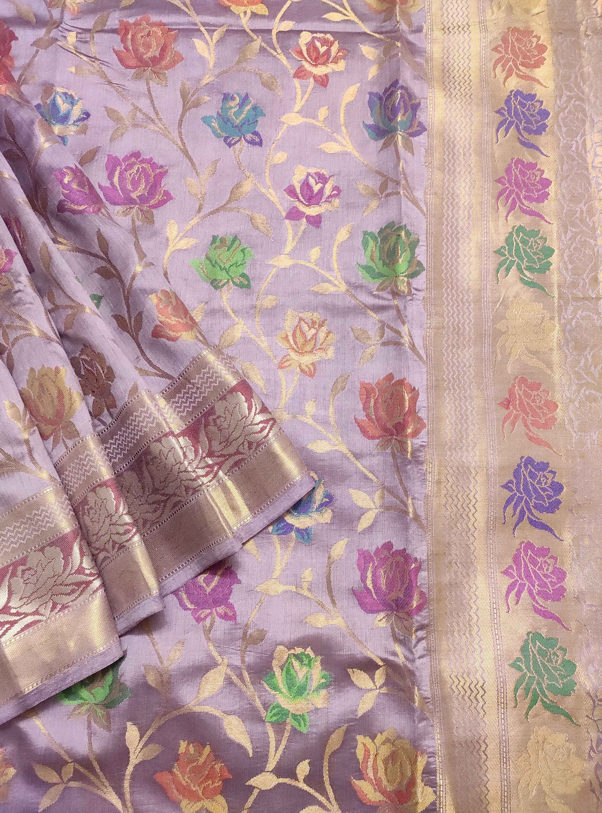 Lavender Muga chiniya silk Banarasi saree with meenedar rose flower jaal (2) Close up