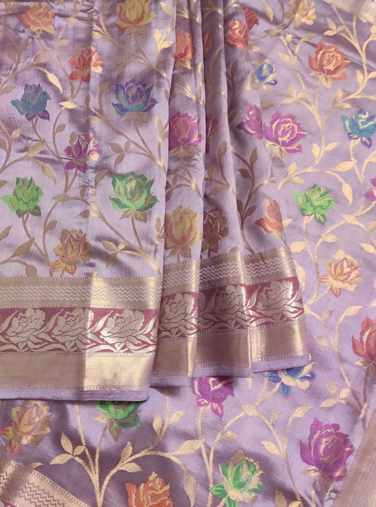 Lavender Muga chiniya silk Banarasi saree with meenedar rose flower jaal (3) Front