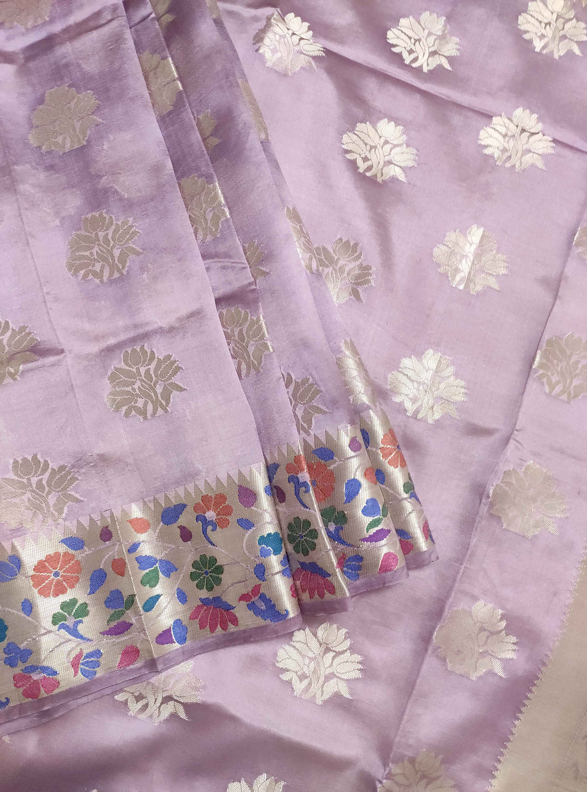 Lavender dupion silk Banarasi saree with flower boota and meenedar border (3) Front