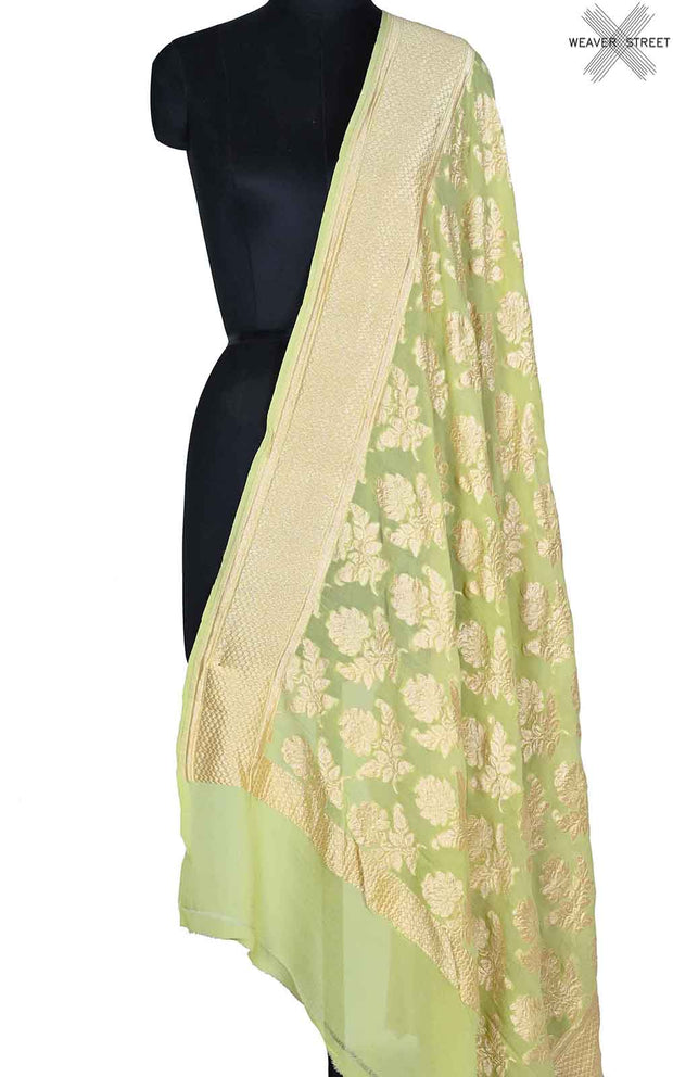 Lemon green khaddi georgette Banarasi dupatta with floral boota (1) Main