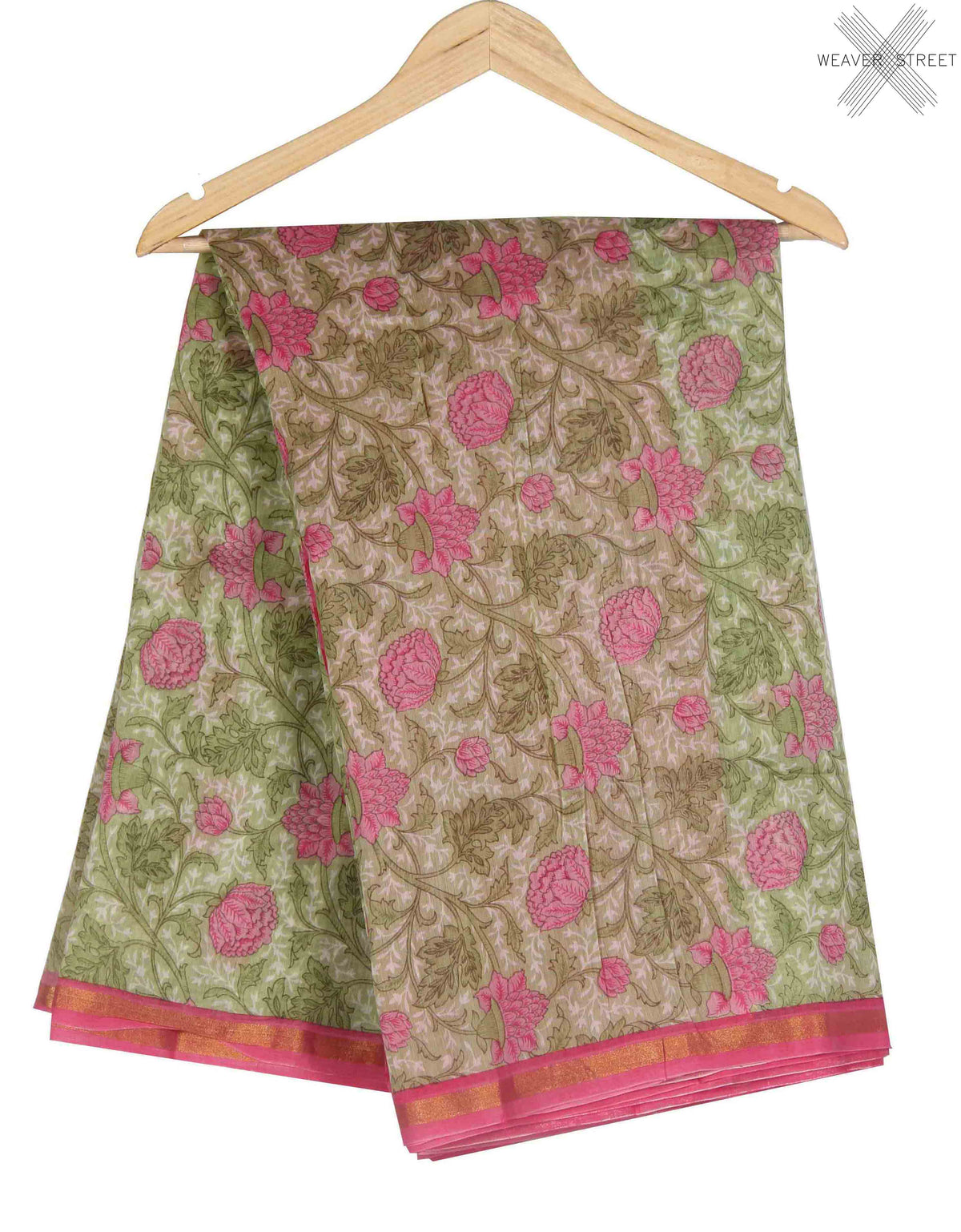 Light Green Silk Cotton Saree with Floral prints (1) main