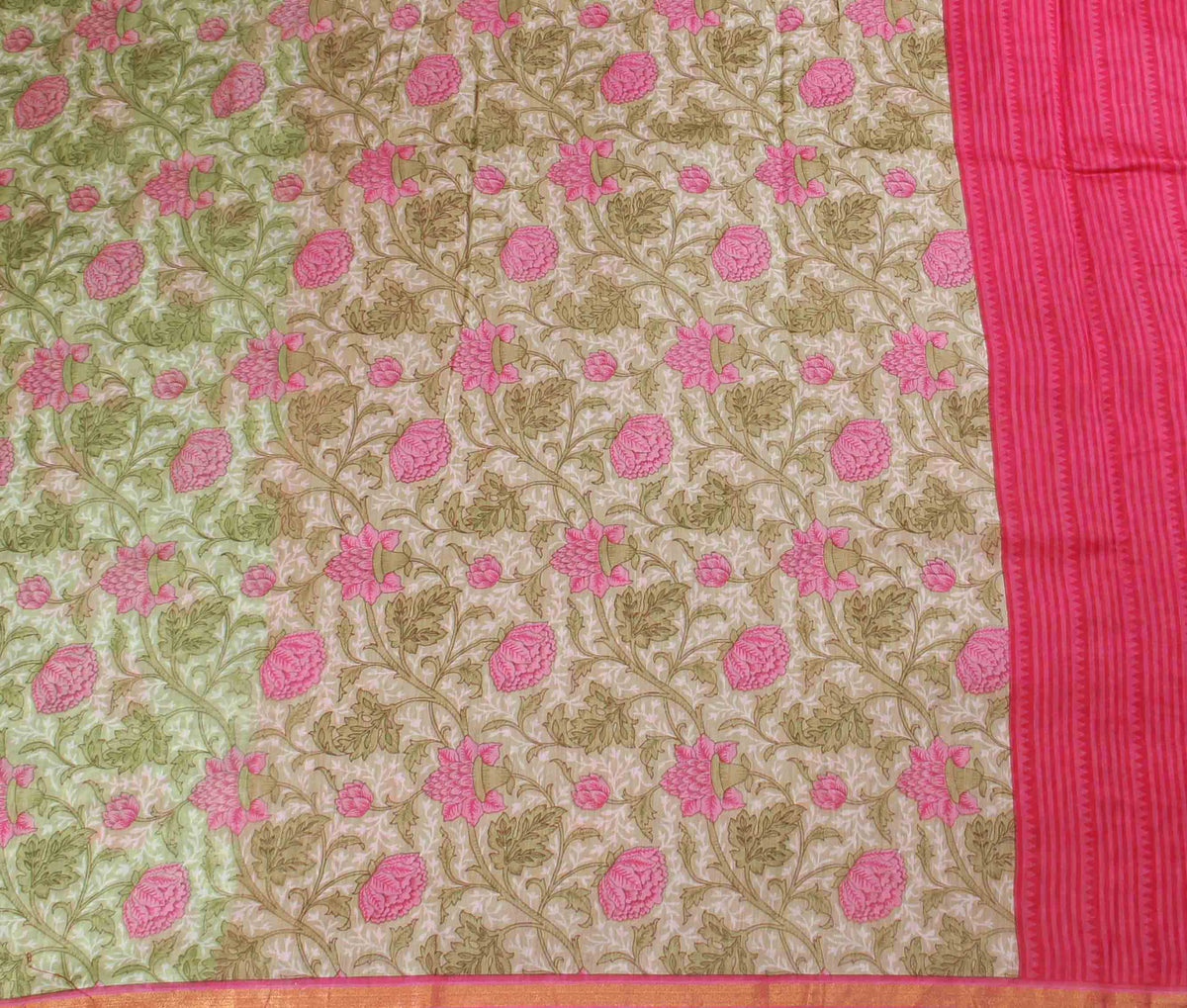 Light Green Silk Cotton Saree with Floral prints (2) flat