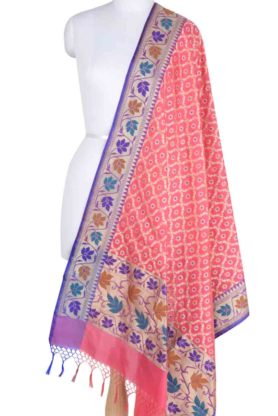 Light Pink Banarasi Dupatta with leaf jaal and floral motifs (1) Main