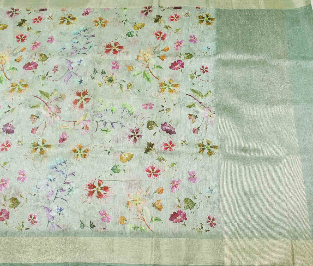 Light green silk linen Banarasi saree with aesthetic floral prints (2) flat
