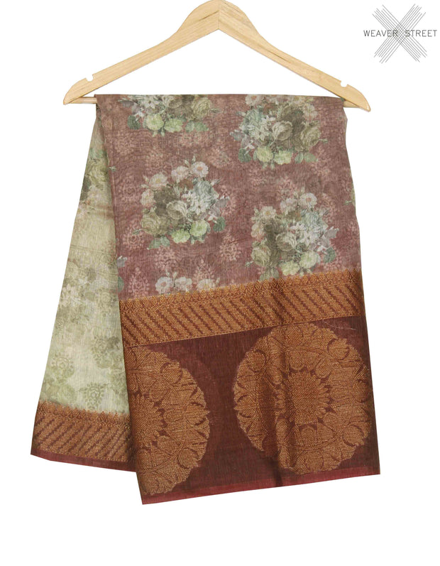 Light wine silk linen Banarasi saree with shaded floral prints (1) main