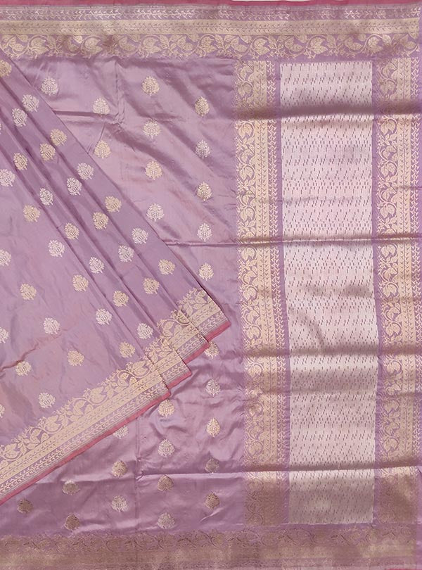 Light mauve katan silk Banarasi saree with sona rupa stylized booti (1) main
