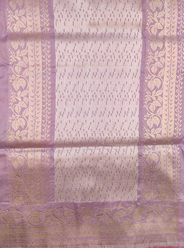 Light mauve katan silk Banarasi saree with sona rupa stylized booti (4) anchal