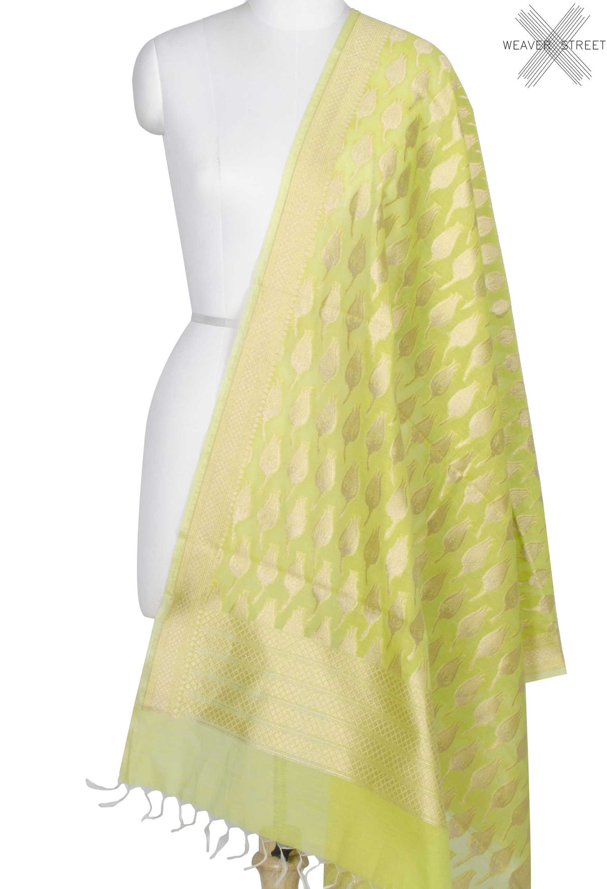 Lime Green Silk Cotton Banarasi Dupatta with rose bud motifs (1) Main