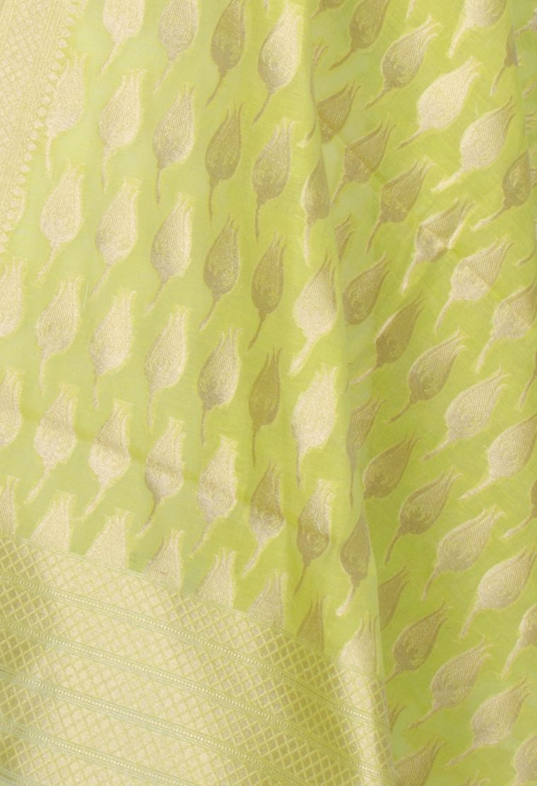Lime Green Silk Cotton Banarasi Dupatta with rose bud motifs (2) Close up