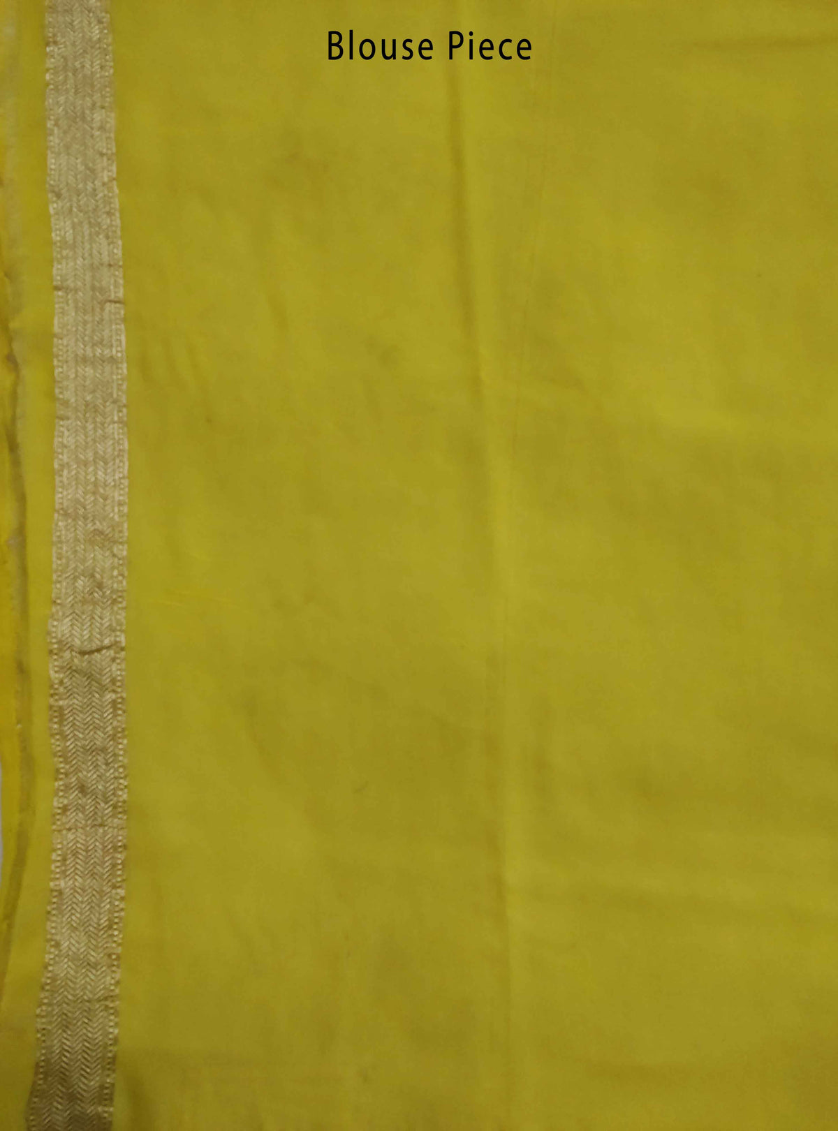 Lime yellow khaddi georgette handloom Banarasi saree with mini flower booti (3) Blouse Piece