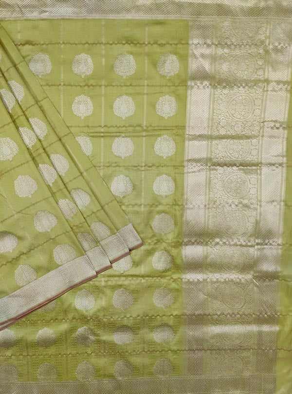 Lime green katan silk tanchoi Banarasi saree with artistic boota (1) main