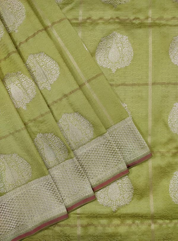 Lime green katan silk tanchoi Banarasi saree with artistic boota (2) close up