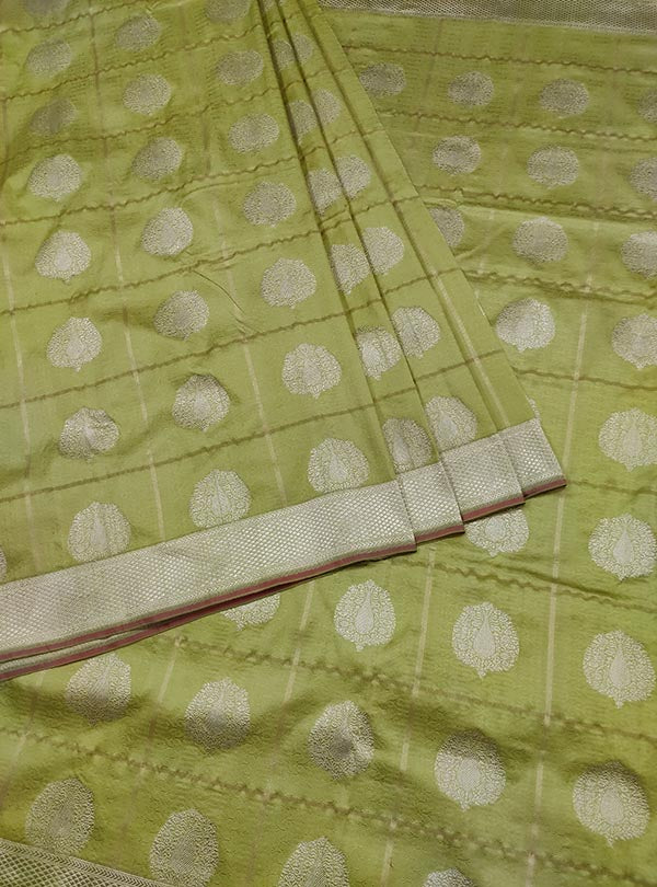 Lime green katan silk tanchoi Banarasi saree with artistic boota (3) center