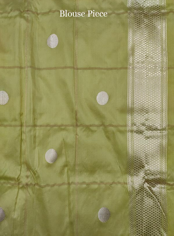 Lime green katan silk tanchoi Banarasi saree with artistic boota (5) blouse