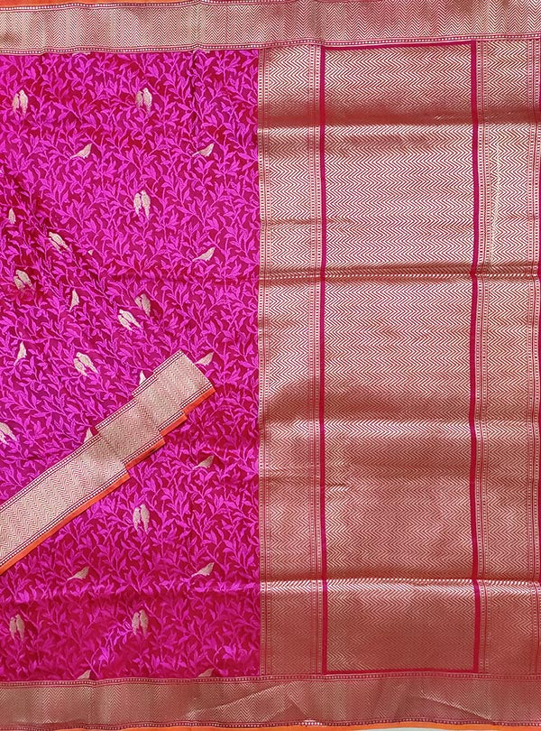 Magenta Red katan silk tanchoi Banarasi saree with kaduwa woven bird booti (1) main
