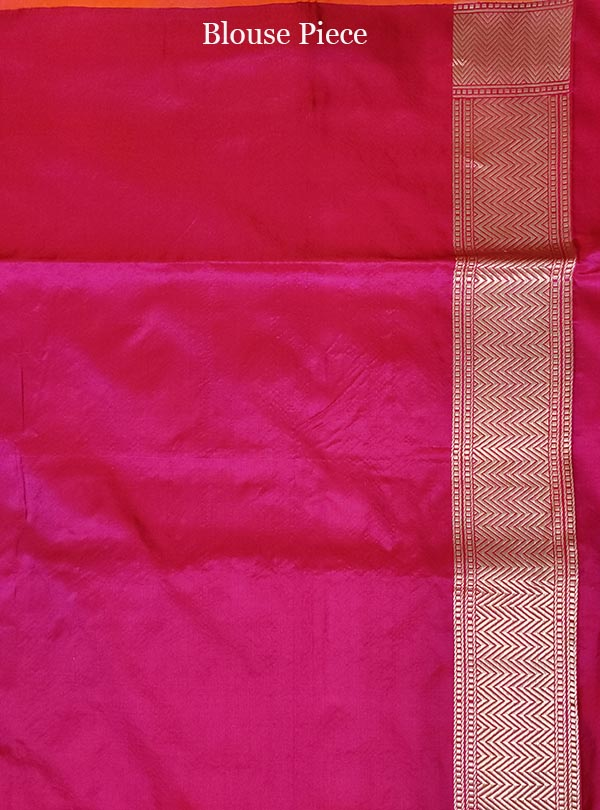 Magenta Red katan silk tanchoi Banarasi saree with kaduwa woven bird booti (5) blouse