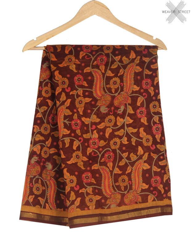 Maroon Silk Cotton Saree with Bird and floral prints (1) main