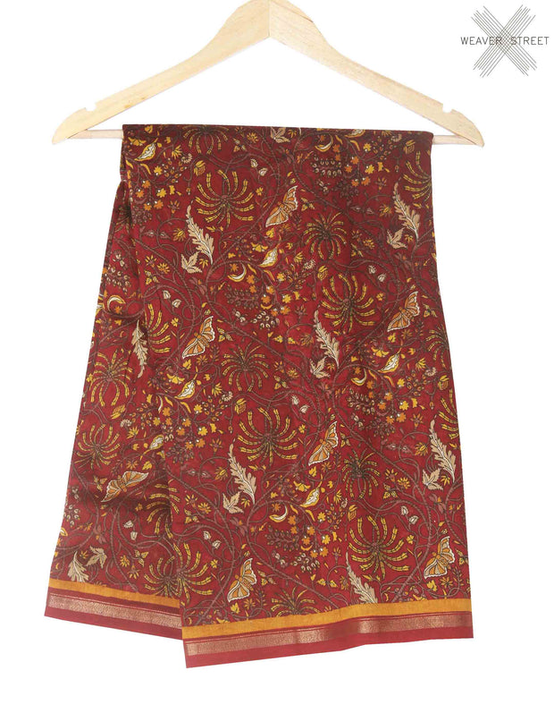 Maroon butterfly printed silk cotton saree (1) main