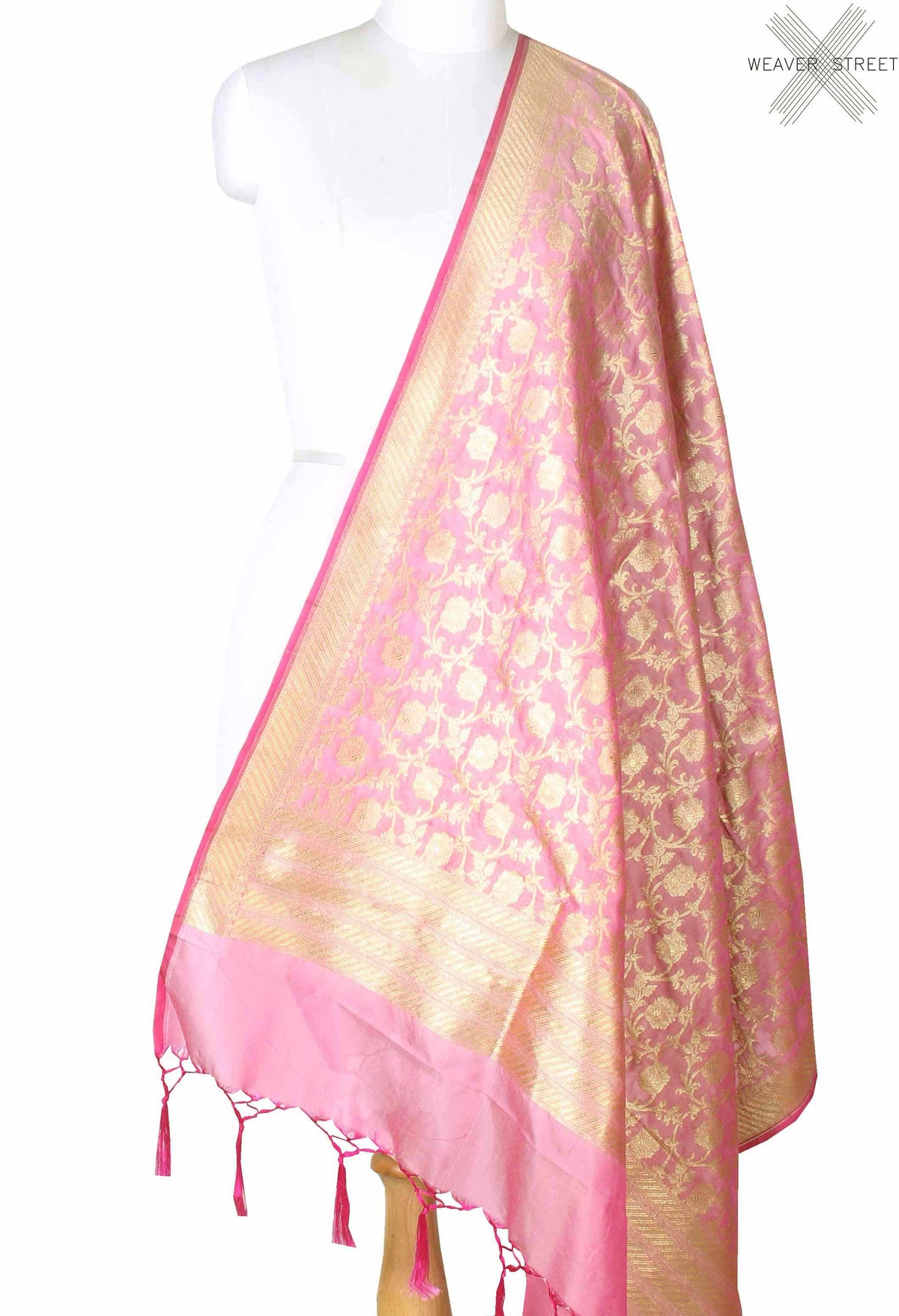 Mauve Banarasi dupatta with flower jangla (1) main