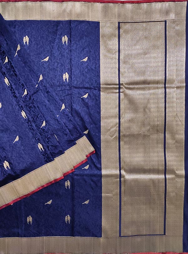 Midnight Blue katan silk tanchoi Banarasi saree with birds booti (1) MAIN