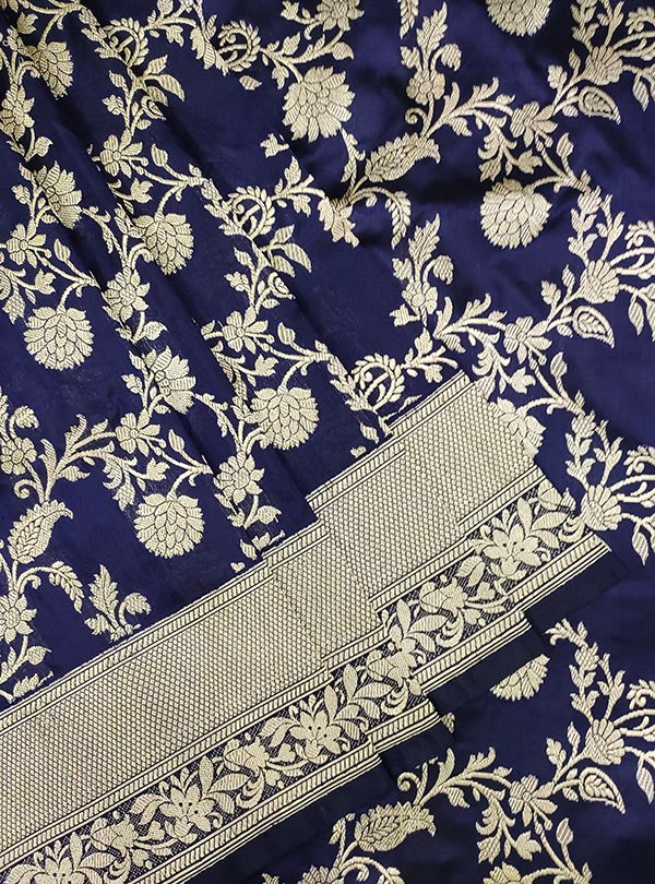 Midnight blue katan silk Banarasi saree with ecstatic floral kaduwa jangla (2) close up