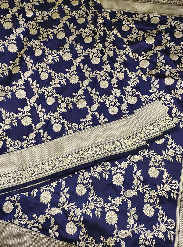 Midnight blue katan silk Banarasi saree with ecstatic floral kaduwa jangla (3) center