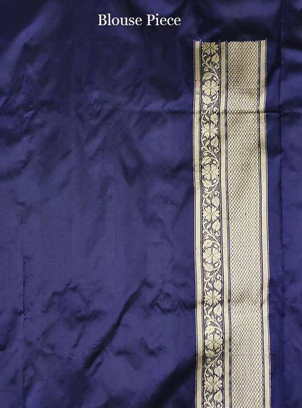 Midnight blue katan silk Banarasi saree with ecstatic floral kaduwa jangla (5) blouse
