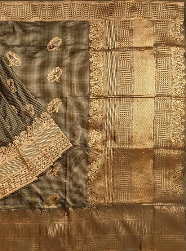 Mouse Brown Katan silk handloom Banarasi checkered saree with kadwa bracelet boota (1) main