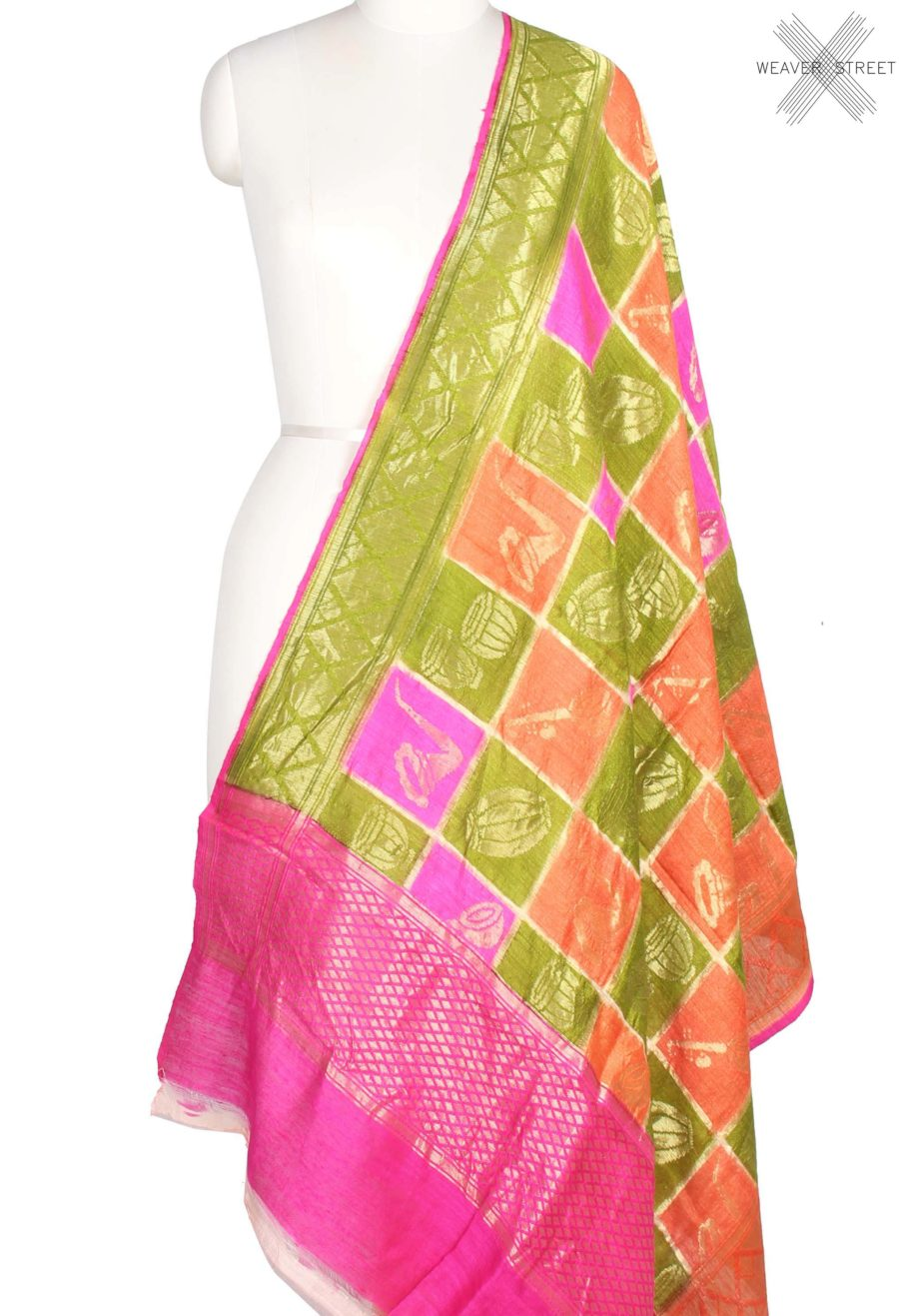Multi color Dupion Silk Banarasi Dupatta with musical instruments motifs (1) main